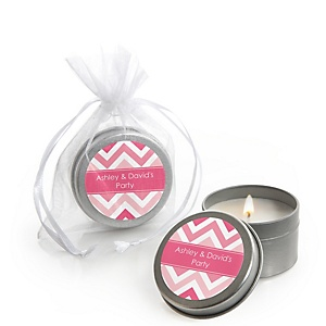 Chevron Pink - Personalized Party Candle Tin Favors - Set of 12
