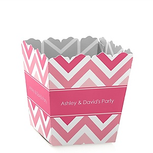 Chevron Pink - Party Mini Favor Boxes - Personalized Party Treat Candy Boxes - Set of 12