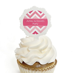 Chevron Pink - Personalized Party Cupcake Pick and Sticker Kit - 12 ct