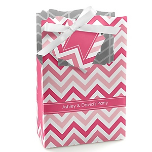 Chevron Pink - Personalized Party Favor Boxes - Set of 12