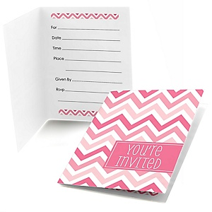 Chevron Pink - Party Fill In Invitations - 8 ct