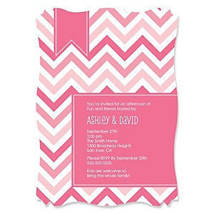 Chevron Pink - Personalized Party Invitations - Set of 12