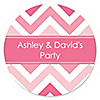 Chevron Pink - Personalized Everyday Party Sticker Labels - 24 ct