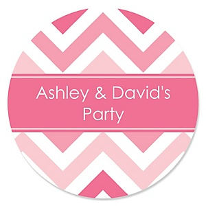 Chevron Pink - Personalized Party Sticker Labels - 24 ct