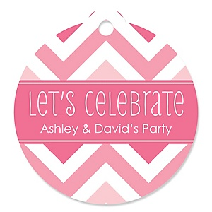 Chevron Pink - Round Personalized Party Tags - 20 ct