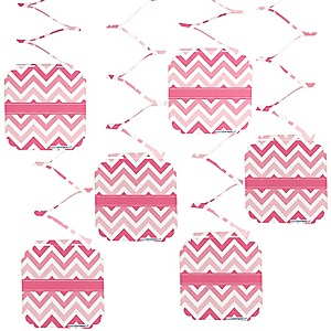 Chevron Pink - Party Hanging Decorations - 6 ct