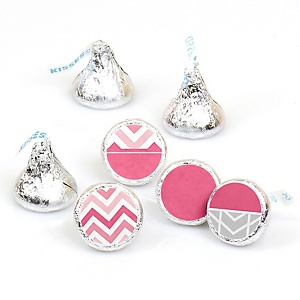 Chevron Pink - Round Candy Labels Party Favors - Fits Hershey's Kisses - 108 ct
