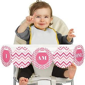 Chevron Pink 1st Birthday - I am One - First Birthday High Chair Banner