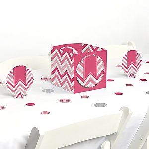 Chevron Pink - Baby, Bridal Shower or Birthday Party Centerpiece and Table Decoration Kit
