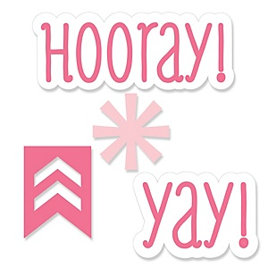 Chevron Pink - DIY Shaped Party Paper Cut-Outs - 24 ct