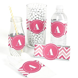 Chevron Pink - DIY Party Wrappers - 15 ct