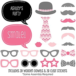 Chevron Pink - 20 Piece Photo Booth Props Kit