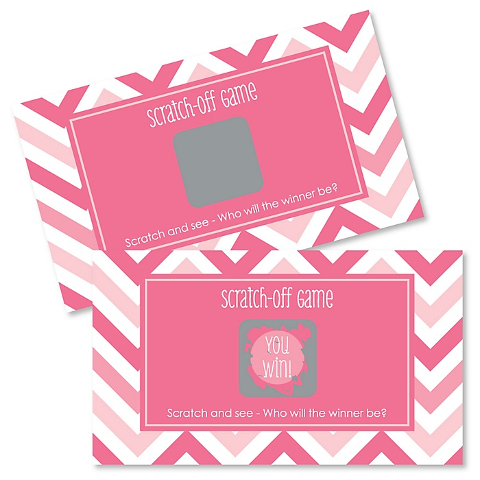 Chevron Pink - Party Game Scratch Off Cards - 22 ct