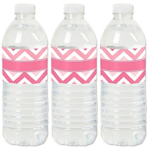 Chevron Pink - Baby, Bridal Shower or Birthday Party Water Bottle Sticker Labels - Set of 20