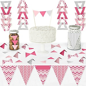 Chevron Pink - DIY Pennant Banner Decorations - Baby, Bridal Shower or Birthday Party Triangle Kit - 99 Pieces