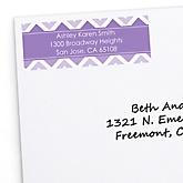 Purple Chevron - Personalized Baby Shower Return Address Labels - 30 ct