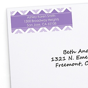 Purple Chevron - Personalized Baby Shower Return Address Labels - 30 ct