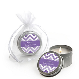 Purple Chevron - Candle Tin Personalized Baby Shower Favors