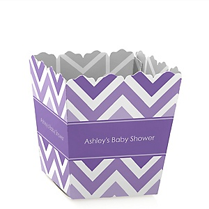 Purple Chevron - Personalized Baby Shower Candy Boxes