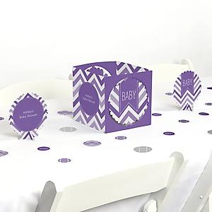 Chevron Purple - Baby Shower Centerpiece & Table Decoration Kit