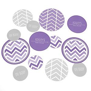 Purple Chevron - Personalized Baby Shower Table Confetti - 27 Count