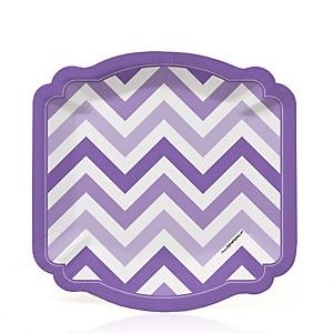 Chevron Purple - Baby Shower Dessert Plates - 8 ct