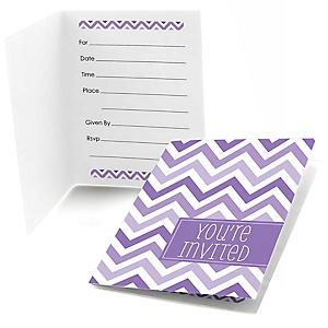 Chevron Purple - Baby Shower Fill In Invitations - 8 ct