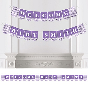 Chevron Purple - Personalized Baby Shower Bunting Banner & Decorations