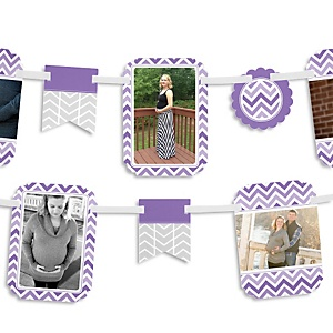 Chevron Purple - Baby Shower Photo Garland Banners