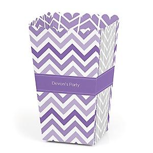 Chevron Purple - Personalized Party Popcorn Favor Treat Boxes
