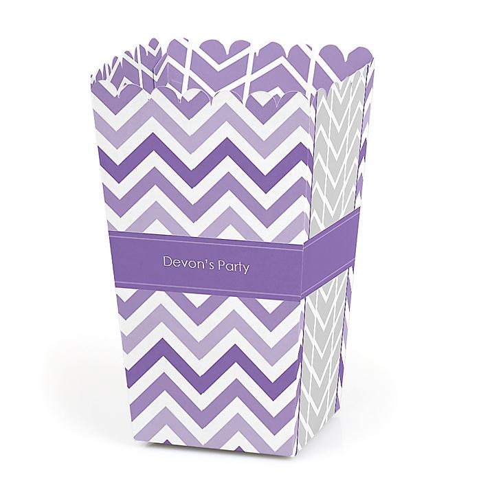 Chevron Purple - Personalized Party Popcorn Favor Treat Boxes - Set of 12
