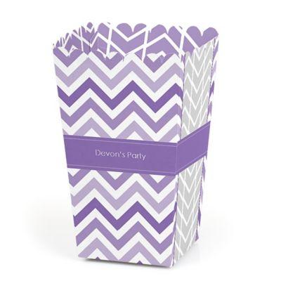Chevron Purple   Personalized Party Popcorn Favor Treat Boxes