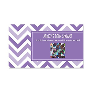 Chevron Purple - Personalized Baby Shower Game Scratch Off Cards - 22 ct