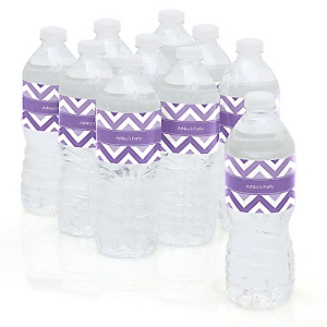 Chevron Purple - Personalized Party Water Bottle Sticker Labels - Set of 10