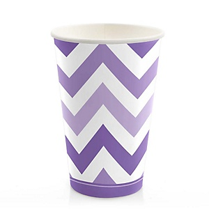 Chevron Purple - Party Hot/Cold Cups - 8 ct