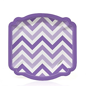 Chevron Purple - Party Dessert Plates - 8 ct