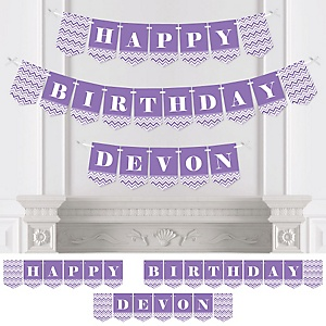 Chevron Purple - Personalized Birthday Party Bunting Banner & Decorations