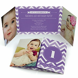 Chevron Purple - Personalized Birthday Party Photo Invitations - Set of 12