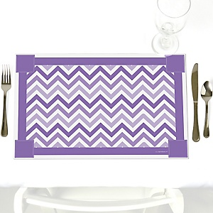 Chevron Purple - Party Table Decorations - Party Placemats - Set of 12
