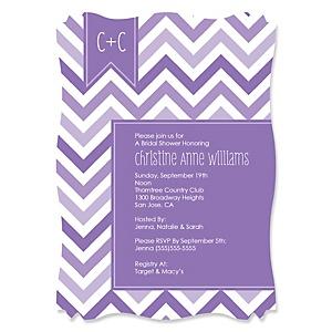 chevron purple personalized bridal shower invitations set of 12