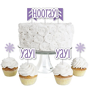 Chevron Purple - Dessert Cupcake Toppers - Baby Shower or Birthday Party Clear Treat Picks - Set of 24