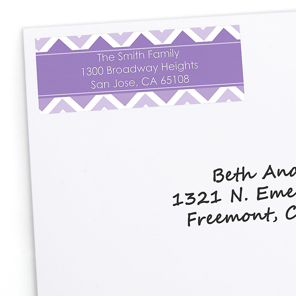 chevron purple personalized party return address labels 30 ct