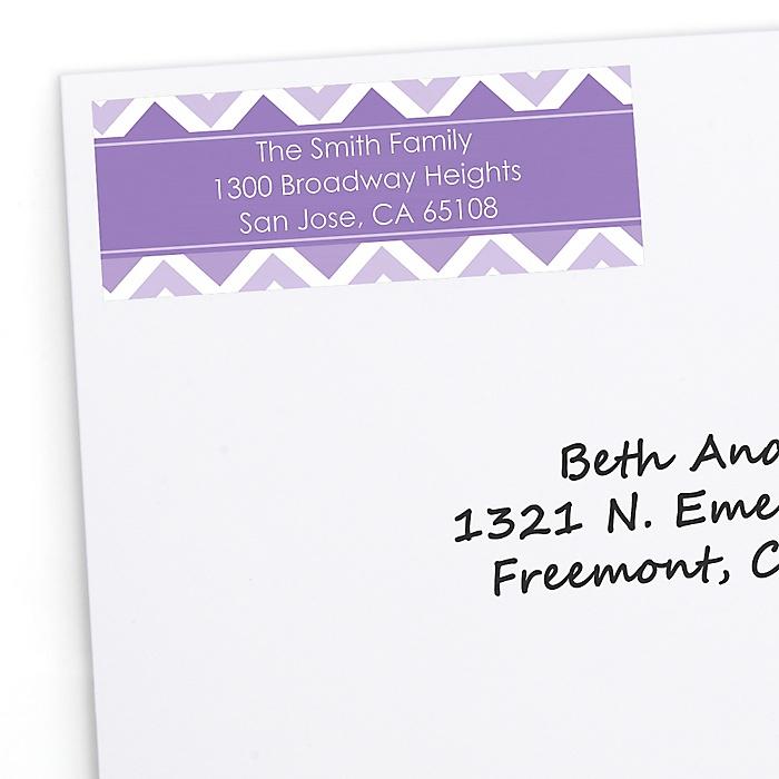 Chevron Purple - Personalized Party Return Address Labels - 30 ct