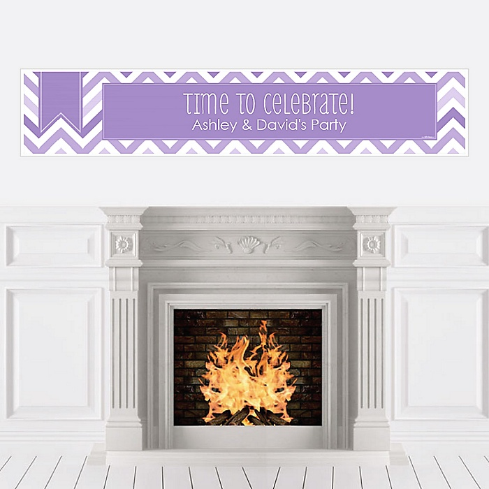 Chevron Purple - Personalized Party Banners
