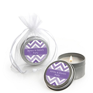 Chevron Purple - Personalized Party Candle Tin Favors - Set of 12