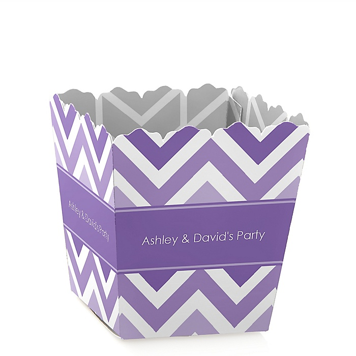 Chevron Purple - Party Mini Favor Boxes - Personalized Party Treat Candy Boxes - Set of 12