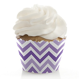 Chevron Purple - Party Decorations - Party Cupcake Wrappers - Set of 12