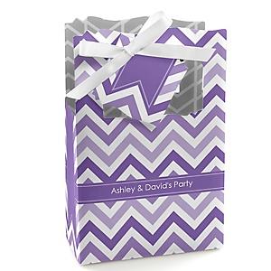 Chevron Purple - Personalized Party Favor Boxes - Set of 12