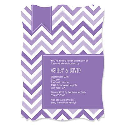 chevron purple personalized party invitations set of 12