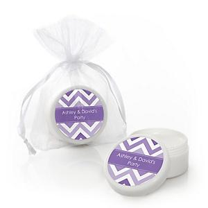 Chevron Purple - Personalized Party Lip Balm Favors - Set of 12